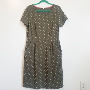 Boden Olive Green White Polka Dot Shift Dress